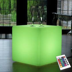 LED Cube Stool Seat, 40cm Tall, Mains Powered Multicolor Floor Lamp