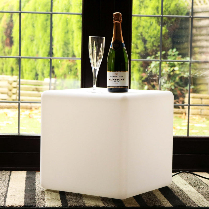 LED Cube Stool 40cm, Floor Standing Lamp, White E27 Bulb Installed