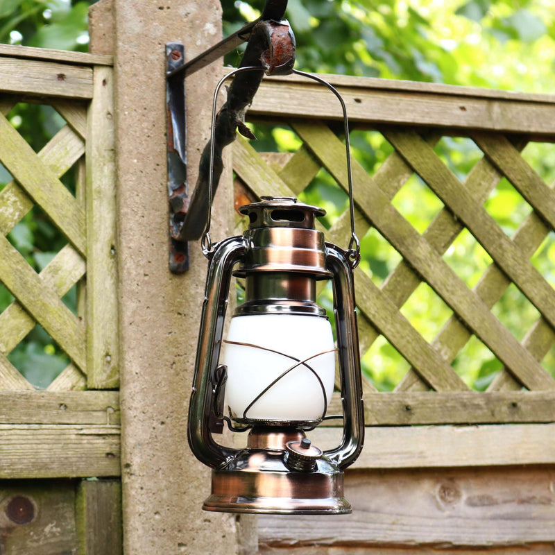LED Hurricane Lantern, Flame Effect, Large 27cm Metal Outdoor Lamp