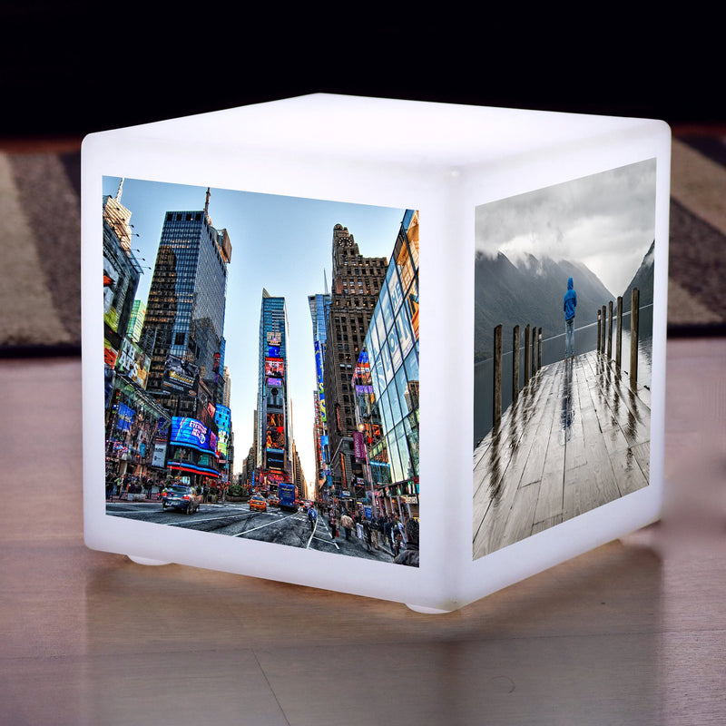 Large Personalised LED Photo Display Lightbox Cube, Floor Lamp Seat Stool Furniture, 60cm