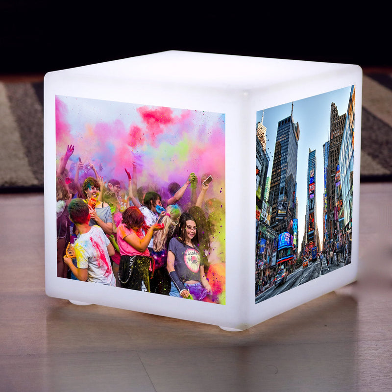 Modern LED Floor Lamp Lightbox, Illuminated Display Photo Cube, Personalised Stool Seat