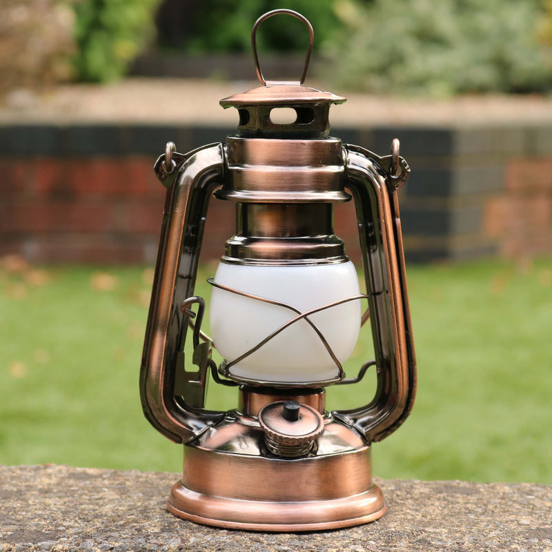 LED Hurricane Lantern with Flame Effect, Battery Operated Outdoor Lamp