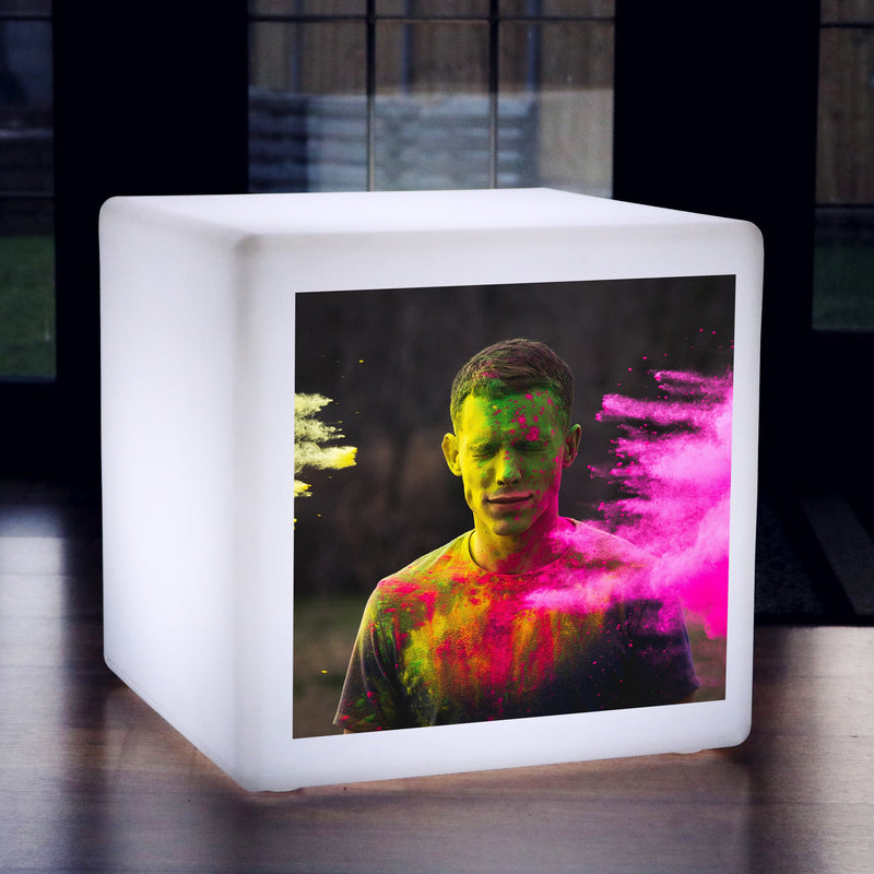 Personalised LED Cube Stool Seat with Photo, Living Room Floor Lamp, Bespoke Light Box
