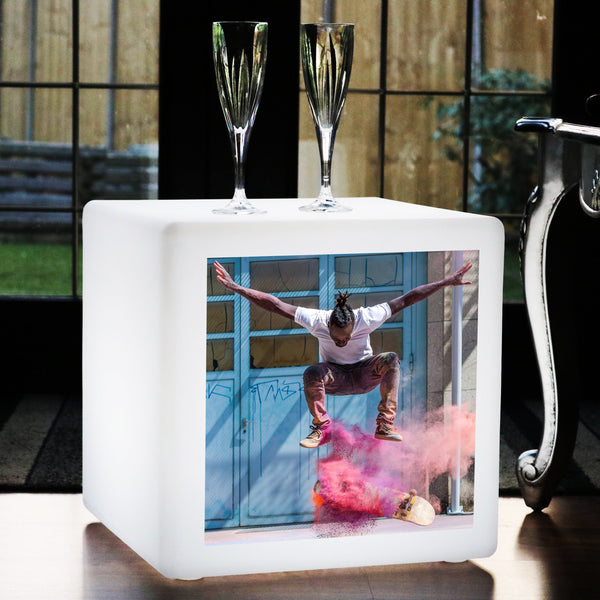 Personalised LED Seat Cube Stool, Photo Lightbox, 50 cm Bespoke Floor Lamp Furniture