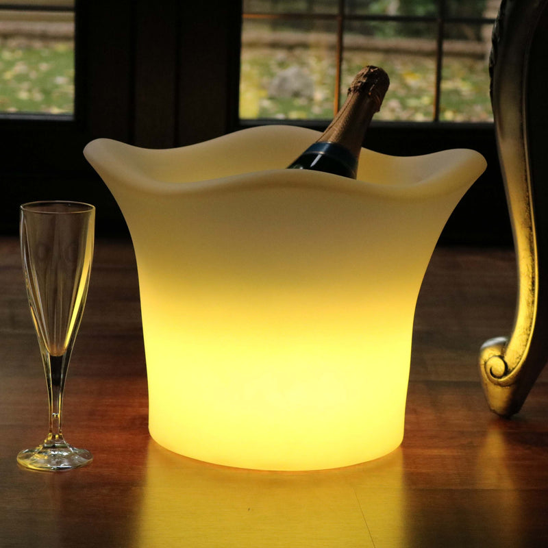 Illuminated LED Ice Bucket with Remote, Cordless, Outdoor