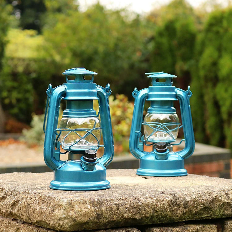 Hanging Hurricane Lantern LED, Vintage Retro Metal Lamp, Blue