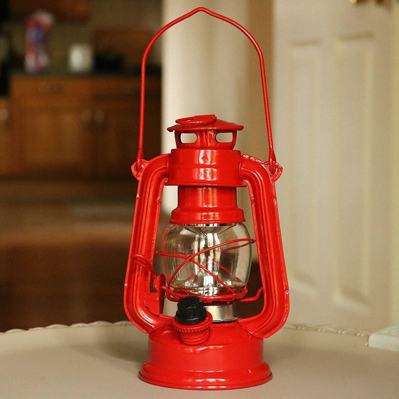LED Hurricane Lantern, Outdoor Decorative Battery Lamp, Red, 19cm