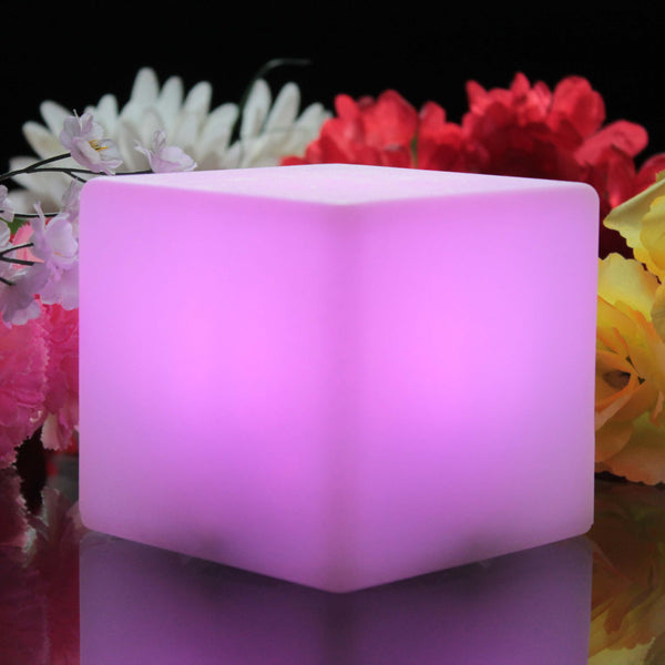 Cordless LED Bedside Night Lamp, Luminous Multicolor Cube 10cm