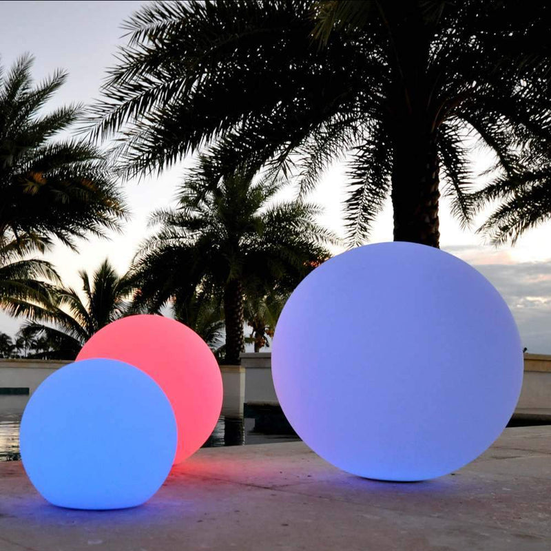 Large 60cm Outdoor LED Ball Light, Multicolor RGB Sphere Floor Lamp, Cordless Garden Lighting