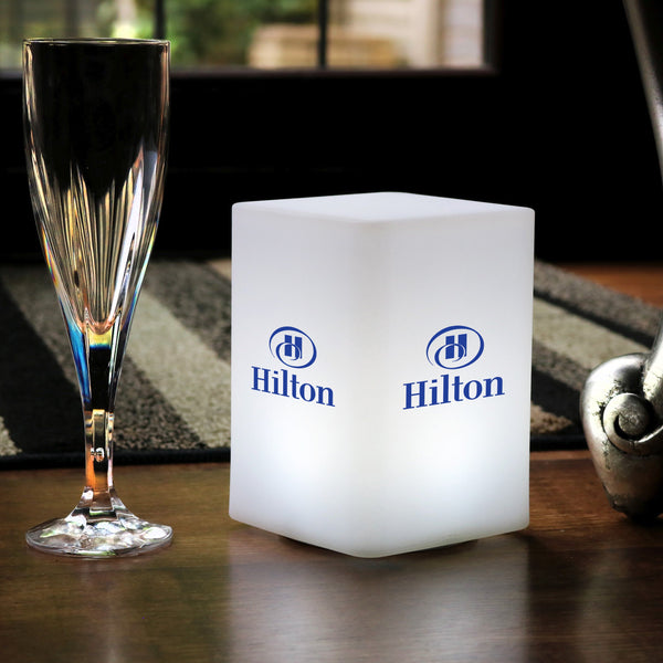 Custom Branded LED Table Centre Lightbox, Personalised Illuminated Display Lamp with Logo