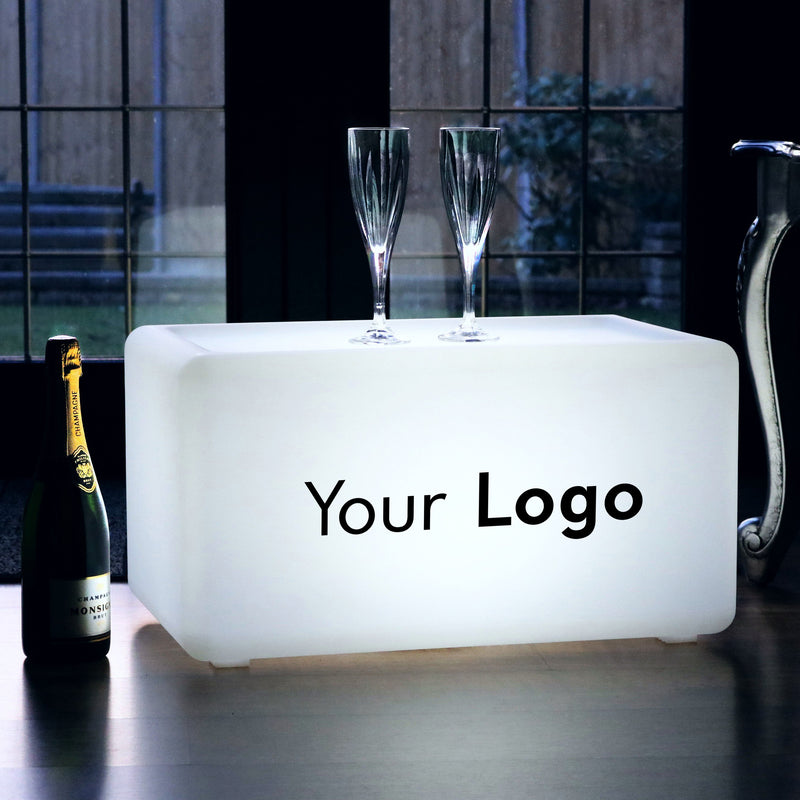 Custom Branded Backlit LED Light Box Bench, Cordless Advertising Display Sign Seat Stool