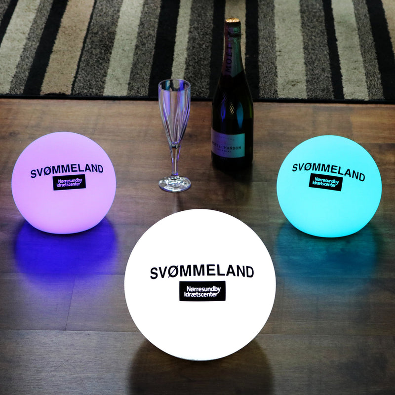 Personalised LED Ball Table Lamp, Branded Cordless Table Centre, Round Logo Lightbox 15cm