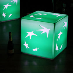 Unique Branded LED Seat Stool Furniture, Customizable 60 cm Illuminated Cube Light Box, E27