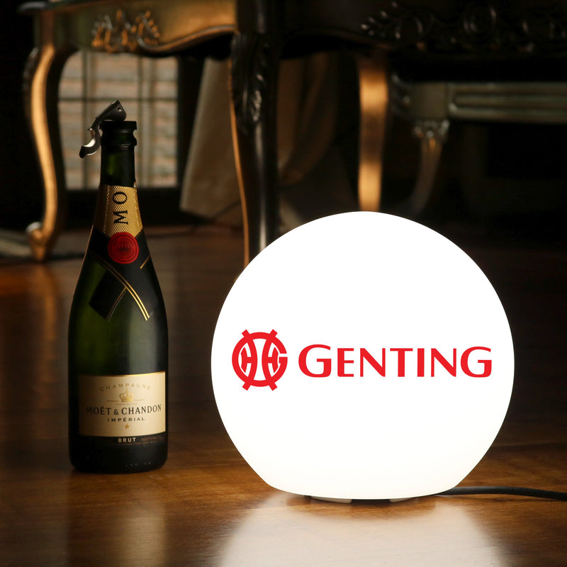 Personalised Table Lamp, Branded LED E27 Round Orb Light Box, Custom Printed with Logo