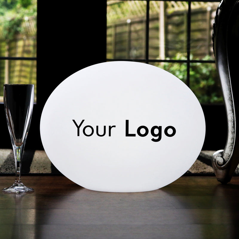 Personalised LED Table Lamp, Custom Printed Circular Outdoor LED Light Box, Illuminated Sign