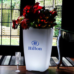 Custom Branded LED Floor Standing Vase, Personalised Lightbox Flower Plant Pot, Display Sign