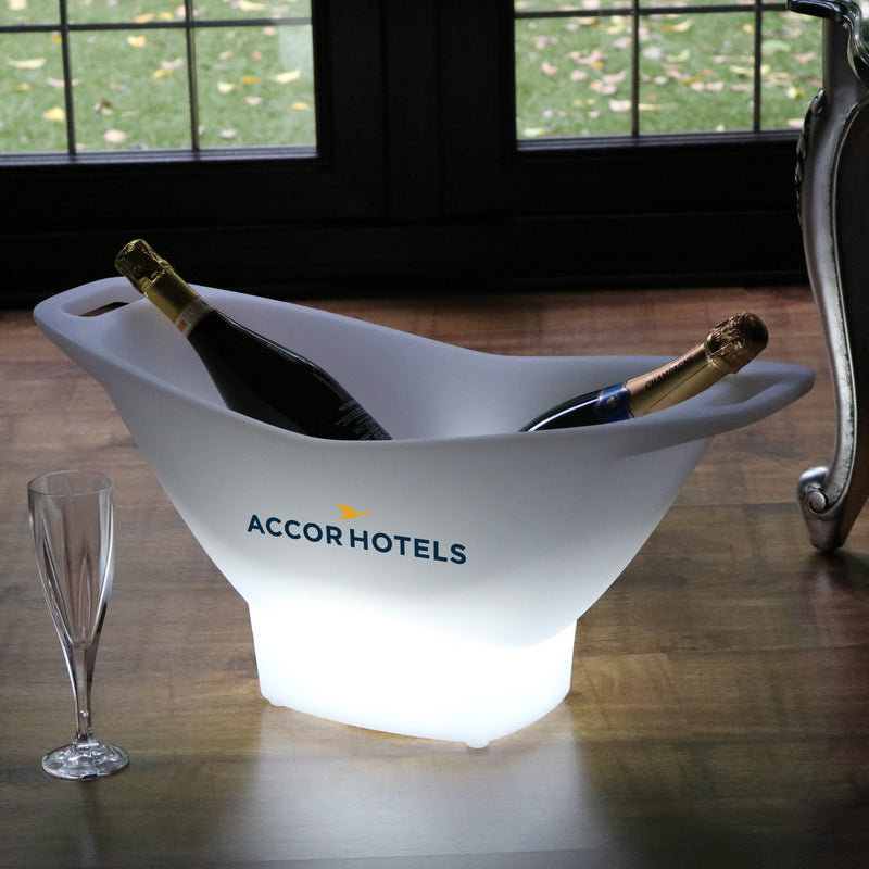 Customised Large LED Ice Bucket, Personalised Champagne Wine Drinks Cooler, Logo Sign Light Box