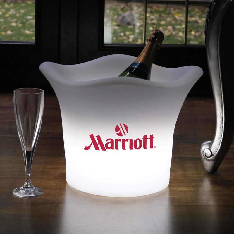 Personalised LED Ice Bucket, Custom Branded Illuminated Lightbox, Wine Champagne Cooler with Logo