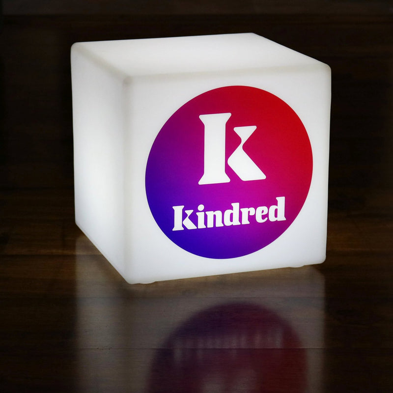 Personalized Light Box with Logo, Cordless LED Illuminated Display Sign Table Lamp, Cube