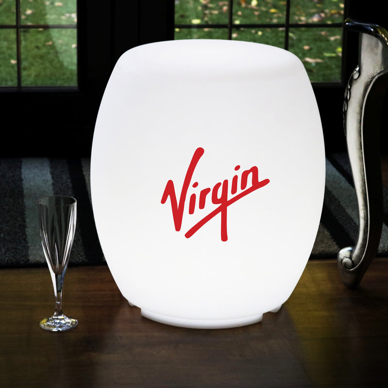 Personalised Illuminated Seat Stool Furniture, Branded Floor Lamp, LED Display Logo Lightbox