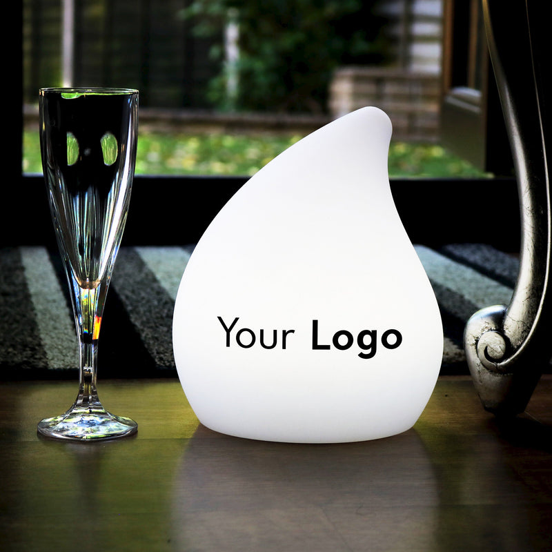 Personalised LED Table Centre Lamp, Customised Branded Display Sign Light with Printed Logo