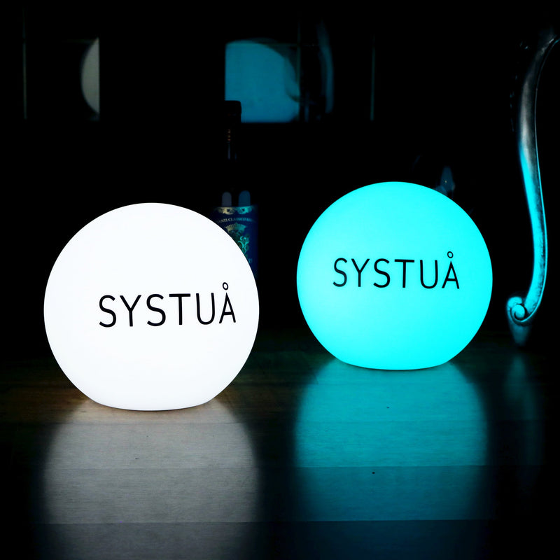 Personalised Floor Lamp, Branded with Logo Print, Illuminated Lightbox Signage, 40cm Ball