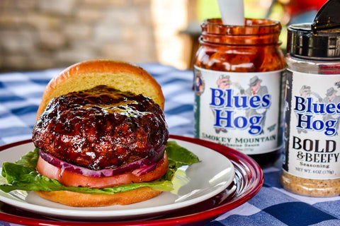 Sauced AF Burger with Bold and Beefy Shaker and Smokey Mountain Barbecue Sauce