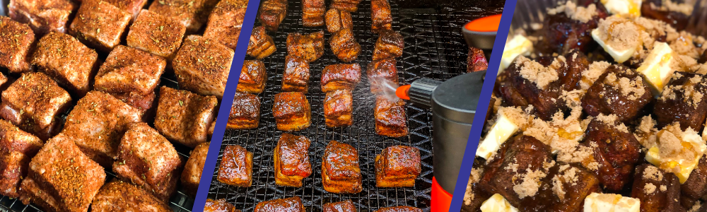 Seasoned Burnt ends/spaying burnt ends on the smoker/Burnt ends sitting mixed sitting coated in butter, brown sugar, and honey