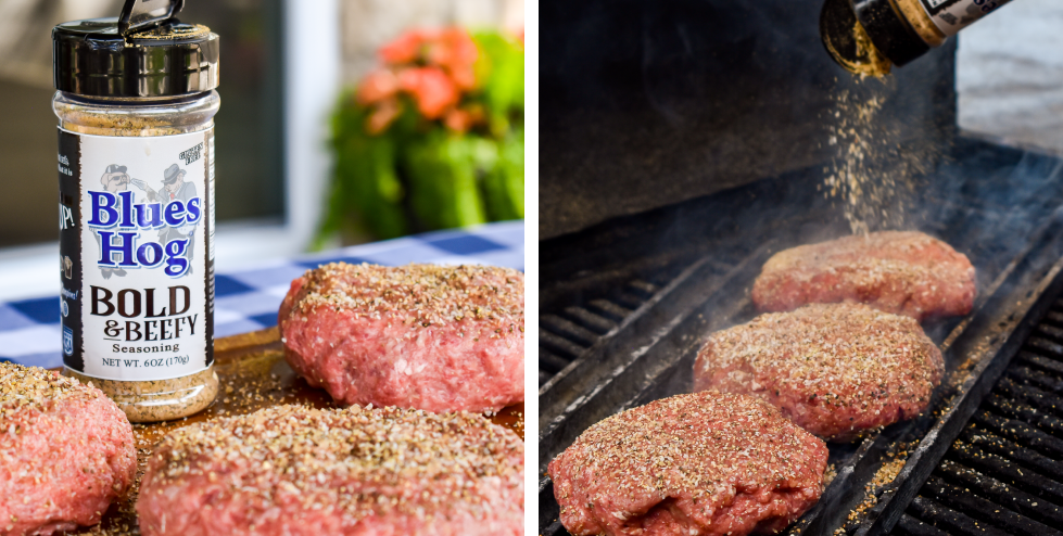 Seasoned Burger Patties with Bold and Beefy Seasoning Shaker/ Burgers on Grill