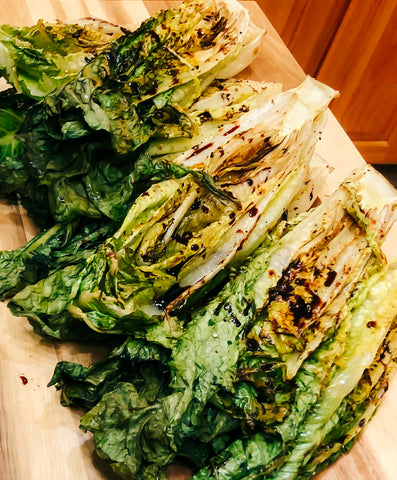Grilled Heads of Romaine with Balsamic Dressing Drizzle
