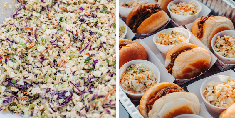 Coleslaw in Serving Container and Pork Sliders Served Up in Paper Food Trays