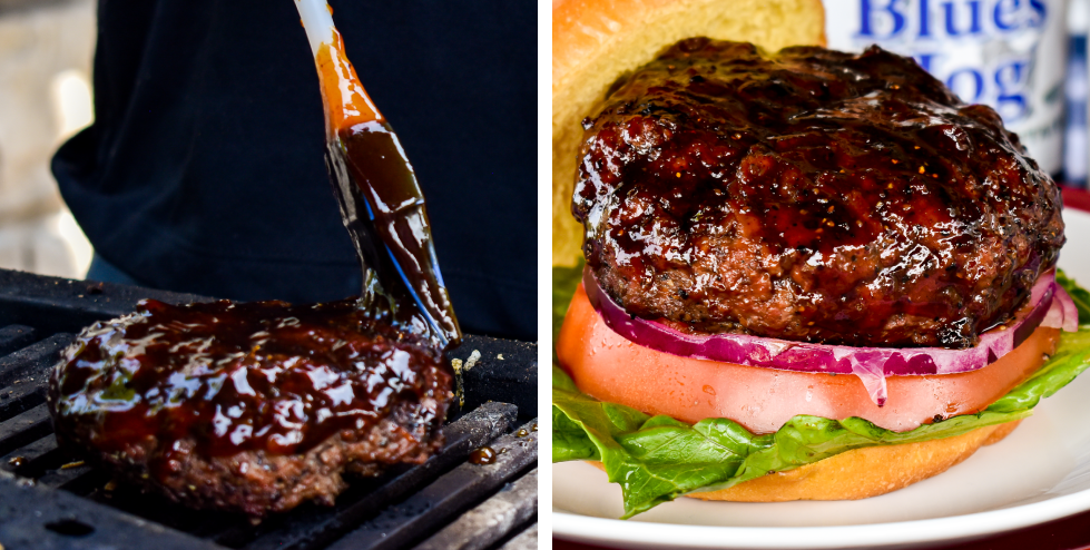 Burger on grill brushed with Smokey Mountain Barbecue Sauce / Plated Sauced AF Hamburger