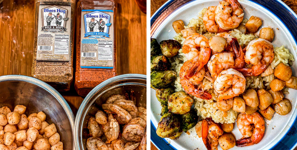scallops and shrimp seasoned with Sweet & Savory and Bold & Beefy/ Seafood Plated /> <li style=