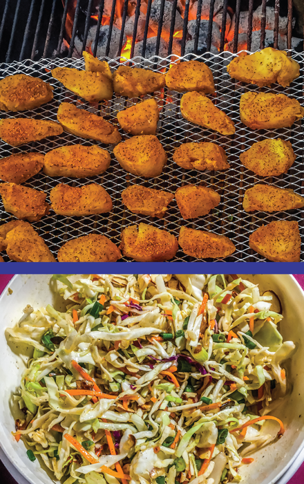 Fish chunks over charcoals/ Slaw in a bowl