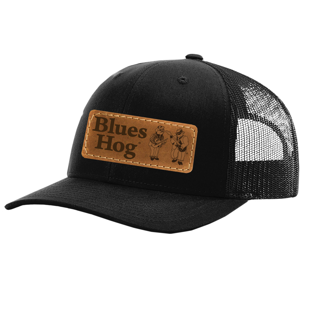Black Leather Patch Hat - Blues Hog