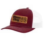 Red Leather Patch Hat - Blues Hog