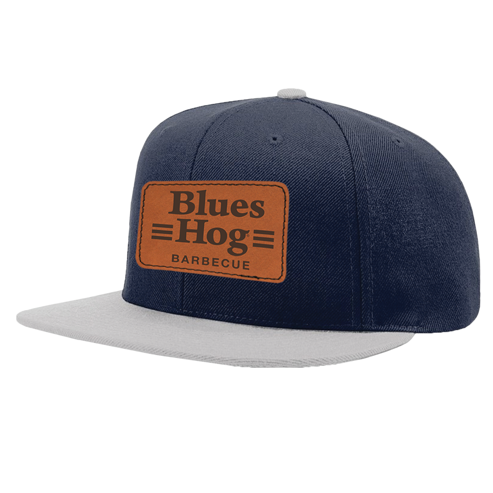 Navy Leather Patch Hat