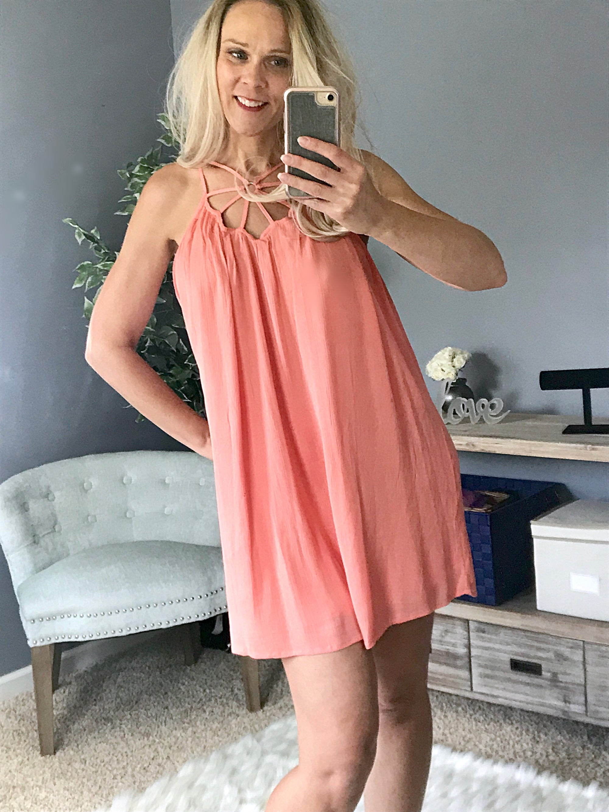 Caged Love Dress  - The Peach Mimosa