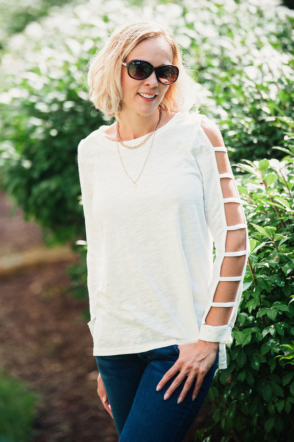 Terilyn Ladder Sleeve Top  - The Peach Mimosa