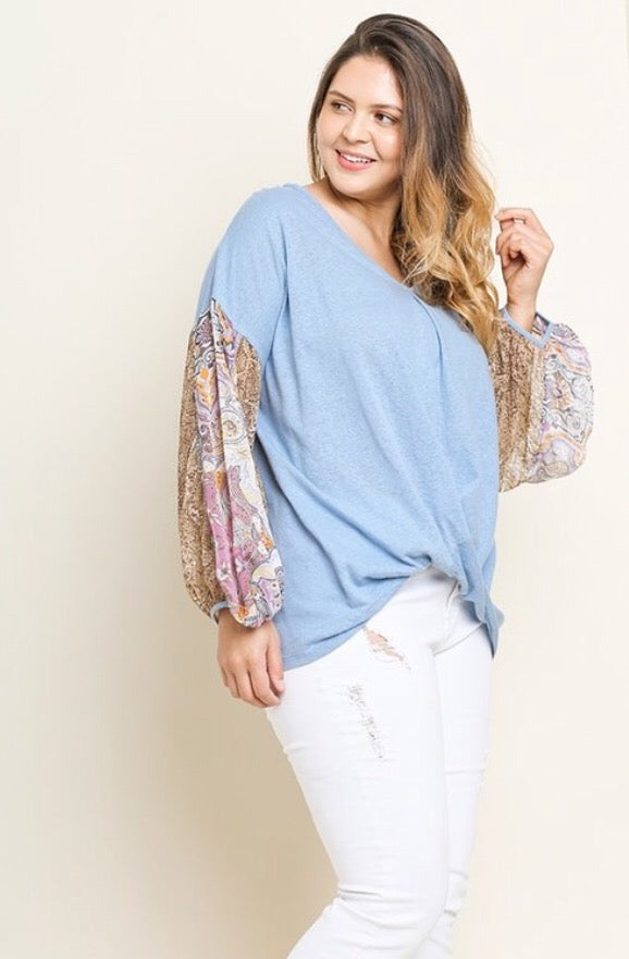 Twist Print Sleeve top  - The Peach Mimosa