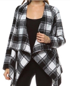 Black/ivory tartan plaid jacket  - The Peach Mimosa