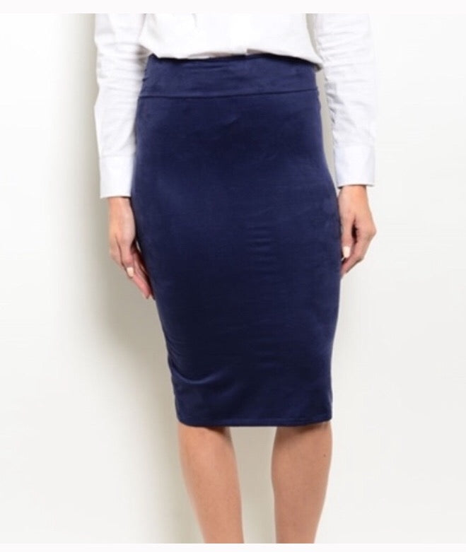 Navy Sueded Pencil Skirt  - The Peach Mimosa