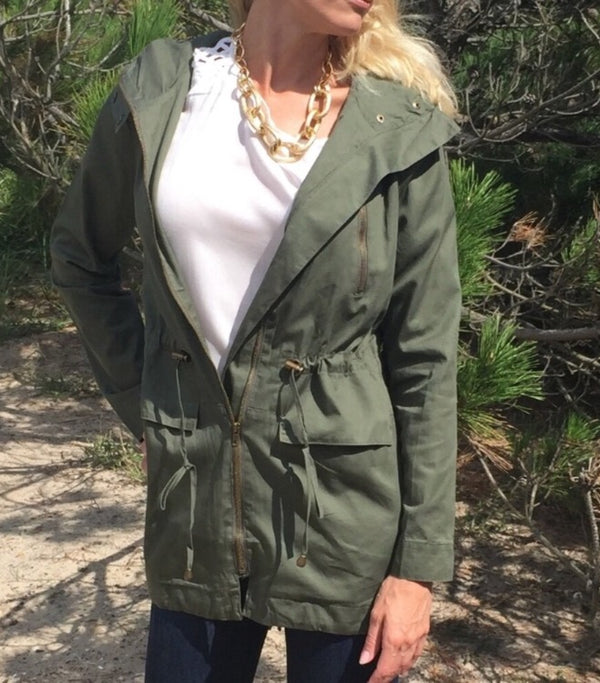 Olive Utility Jacket  - The Peach Mimosa