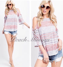 Load image into Gallery viewer, Weekend Escape Striped Top  - The Peach Mimosa