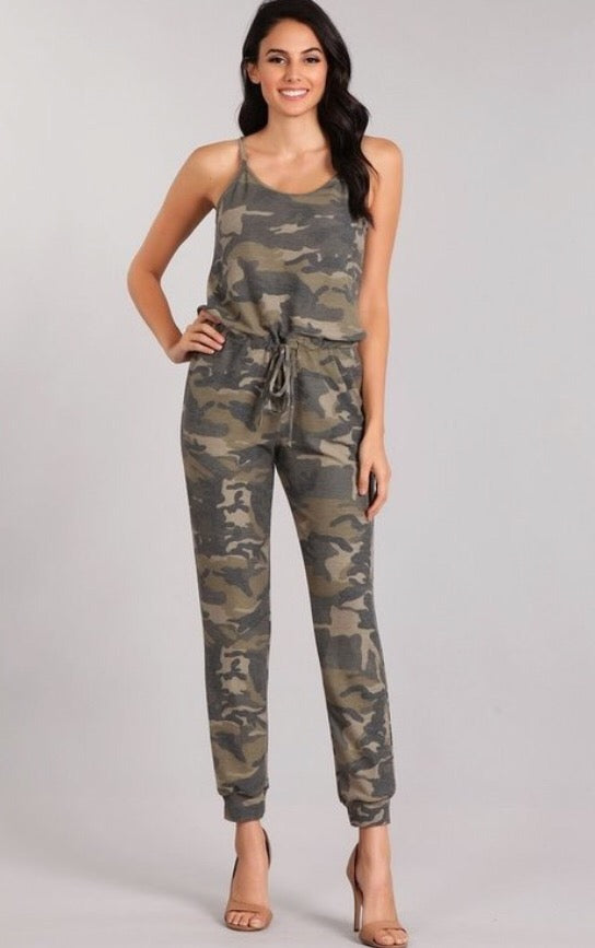 Crazy for Camo Jumpsuit  - The Peach Mimosa