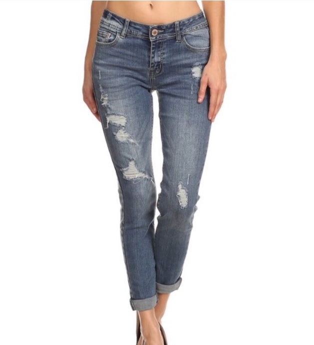 Distressed Ankle Cuff Skinny  - The Peach Mimosa