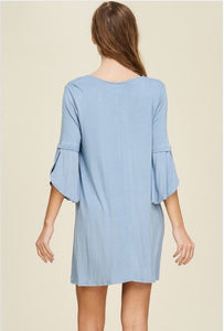 Hazel Bell Sleeve Dress  - The Peach Mimosa