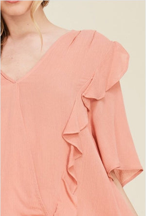 Peach dream ruffle top  - The Peach Mimosa