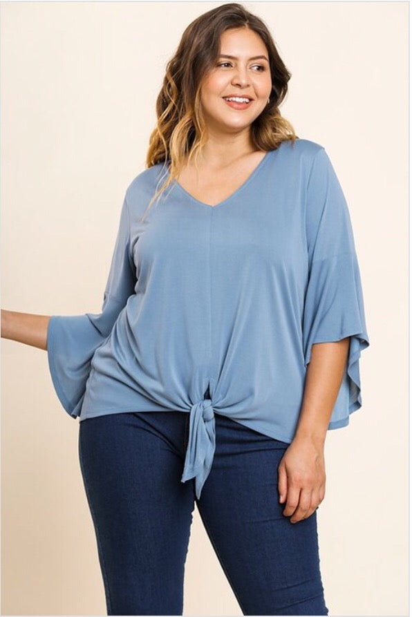 Skye Tie Front Top  - The Peach Mimosa