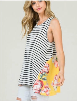 Afternoon Sunshine Floral Striped Tank  - The Peach Mimosa
